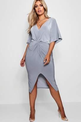 boohoo Plus Mia Slinky Twisted Kimono Sleeve Midi Dress