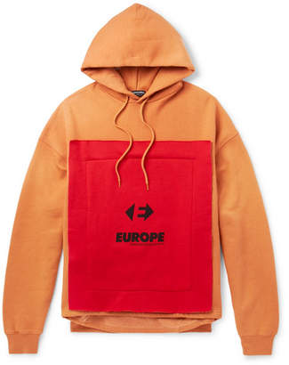 Balenciaga Oversized Appliqued Fleece-Back Cotton-Blend Jersey Hoodie - Orange