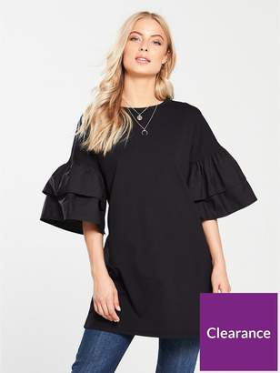 Very Tiered Sleeve Tunic - Black