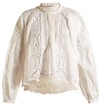 Isabel Marant Maly Embroidered Ramie Top - Womens - White
