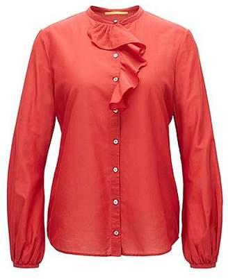 HUGO BOSS Regular-fit cotton-blend shirt with ruffle trim