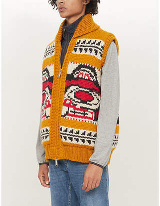DSQUARED2 Graphic-print sleeveless padded wool and mohair-blend jacket