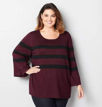Avenue Stripe Bell Sleeve Sweater