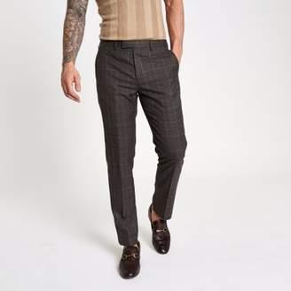 River Island Brown check slim fit suit pants