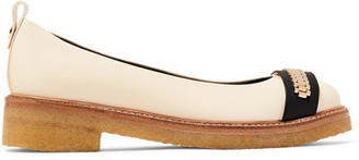 Lanvin - Chain-embellished Glossed-leather Ballet Flats - Neutral $695 thestylecure.com
