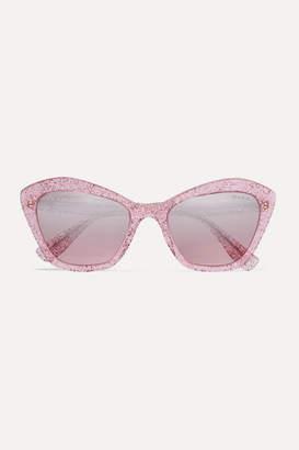 Miu Miu Cat-eye Glittered Acetate Mirrored Sunglasses - Pink