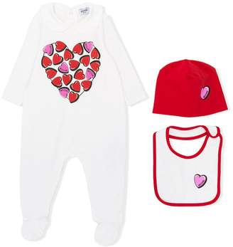Moschino Kids heart logo print pajama set