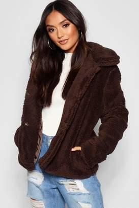 boohoo Petite Revere Collar Cropped Teddy Coat