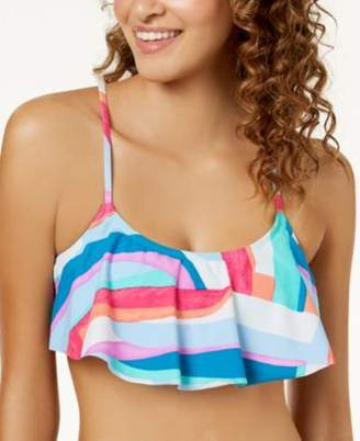 Hula Honey Junior's Flying Colors Printed Flounce Cross-Back Bralette Bikini Top, Created for Macy's