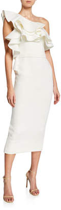 Jovani One-Shoulder Ruffled Scuba Midi Dress