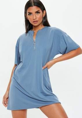 Missguided Blue Oversized Zip Front T-Shirt Dress