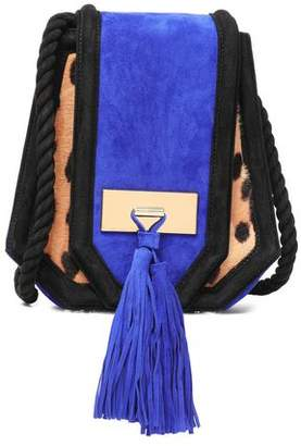 Balmain Tasseled Suede And Leopard-Print Pony Hair Shoulder Bag