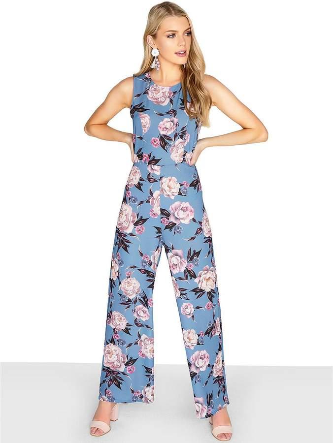 Floral Print Wide Leg Jumpsuit