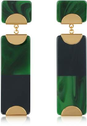 Tory Burch Resin Color-Block Drop Earrings w/Goldtone Metal