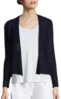 Eileen Fisher Open-Front Melange Knit Cardigan $228 thestylecure.com