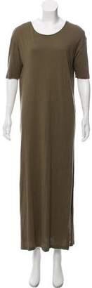 Black Crane Short Sleeve Maxi Dress