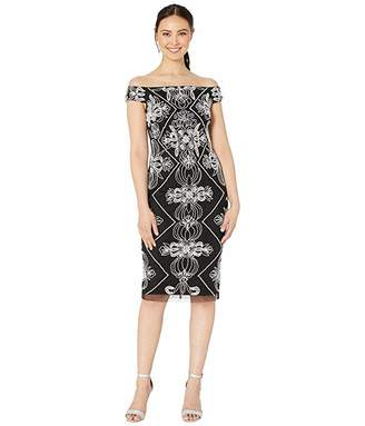Adrianna Papell Contrast Beaded Off Shoulder Cocktail Sheath Dress