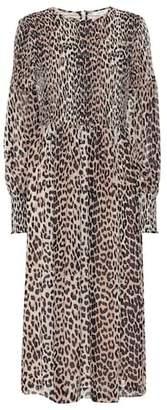 Ganni Leopard print georgette midi dress
