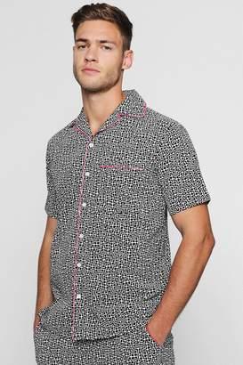 boohoo Tribal Print Revere Short Sleeve Shirt Co-ord