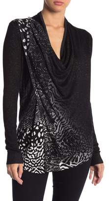 Desigual Adeline Cowl Neck Knit Print Sweater
