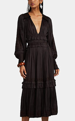 Ulla Johnson Women's Shaina Embroidered Midi-Dress - Dk. brown