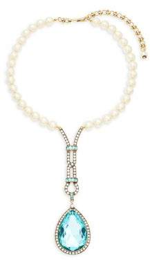Heidi Daus Long Teardrop Faux Pearl and Crystal Pendant Necklace