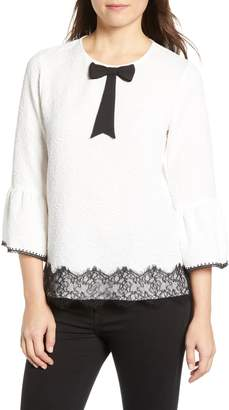 Karl Lagerfeld Paris Lace Bell Sleeve Blouse