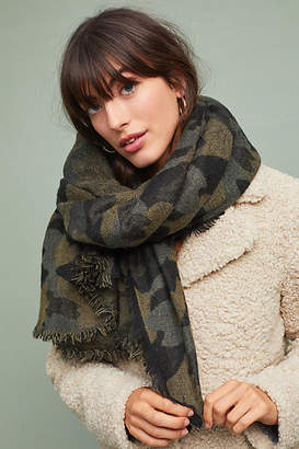 Anthropologie Frayed Camo Scarf