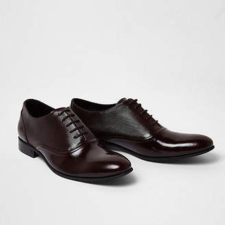 River Island Dark red polished leather oxford shoes