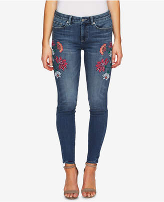 CeCe Floral-Embroidery Skinny Jeans