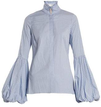 Caroline Constas Jaqueline Striped Cotton Blend Shirt - Womens - Blue Multi