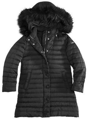 Armani Junior Girls' Down Coat with Faux-Fur Trim - Big Kid