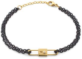 Monica Rich Kosann 18k Yellow Gold Chain Lock Charm Bracelet