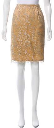 Talbot Runhof Lace Metallic Skirt