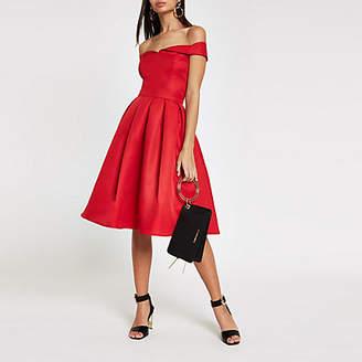 River Island Chi Chi London red bardot neck prom dress