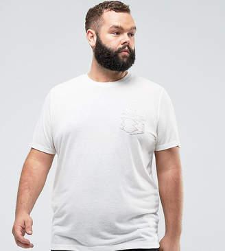 Asos Plus T-Shirt With Aztec Pocket In Linen Mix