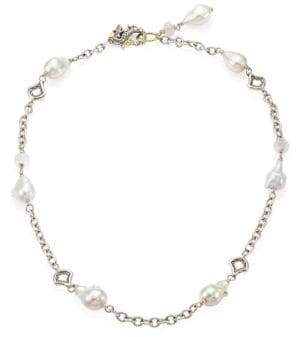 John Hardy Legends Naga 11-12MM White Baroque Pearl, Moonstone& Sterling Silver Station Necklace