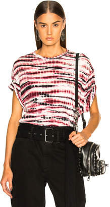 Proenza Schouler Tie Dye Tissue Jersey Short Sleeve Tee in Blush, Burgundy & Black | FWRD