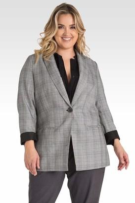 Standards & Practices Dorothy Oversized Plaid Boyfriend Blazer Jacket in Gray Size 14