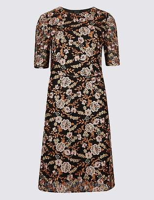 Marks and Spencer Lace Embroidered Half Sleeve Shift Dress