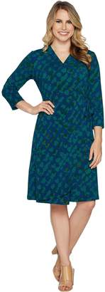 Halston H By H by Petite 3/4 Sleeve Printed Wrap Dress
