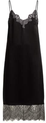 Valentino Lace Trimmed Hammered Silk Satin Slip Dress - Womens - Black
