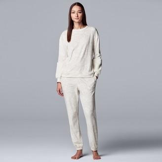 Vera Wang Women's Simply Vera Velour Pajama Top and Banded-Bottom Pajama Pants Set