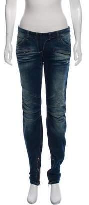 Balmain Mid-Rise Skinny Moto Jeans