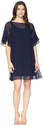 Lauren Ralph Lauren 2E Poly Georgette Kiralyn Elbow Sleeve Day Dress Women's Dress