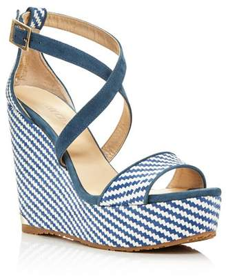Jimmy Choo Women's Portia 120 Striped Platform Wedge Sandals