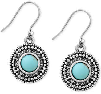 Lucky Brand Silver-Tone Reconstituted Turquoise Drop Earrings