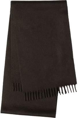 Prada fringed logo embroidered scarf