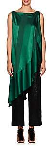 Zac Posen Women's Striped Satin & Crepe Asymmetric Top - Forest Green