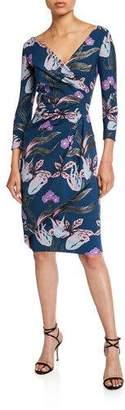 Chiara Boni Floral V-Neck Long-Sleeve Side-Drape Dress